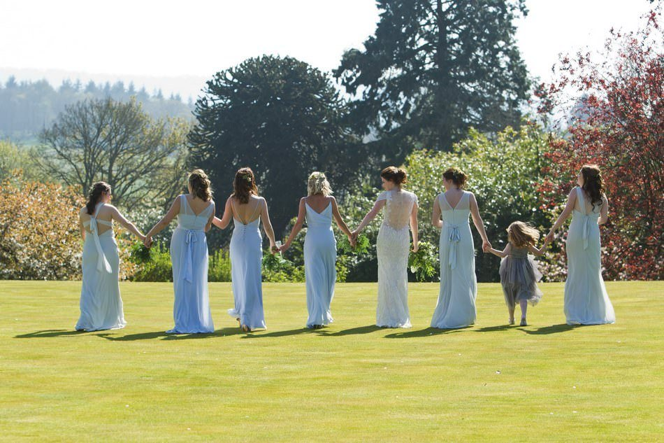 Cowdray House Wedding Photographers girls on south lawn